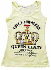t-shirt canotta canottiera donna ragazza cotone stampa corona  tg. S/M-L/XL