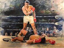 "A-678 Original Watercolor Painting Muhammad Ali & Liston"" Gift Idea boxing champ"
