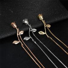 Women's Fashion Jewelry Rose Necklace Bracelet Earrings Silver Gold Rose Gold