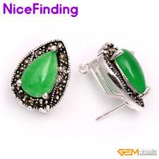 Drop Stone Stud Omega Back Earrings Tibetan Silver Fashion Women Jewelry Gifts