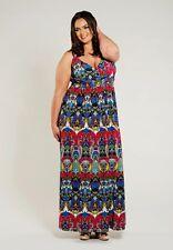 Plus Size Maxi Dress Empire Waist Sleeveless Polyester Blend Print 1X-6X SWAK