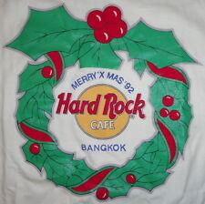 "Hard Rock Cafe BANGKOK 1992 CHRISTMAS White Tee T-SHIRT LG 22"" x 18"" ""STP"" NICE!"