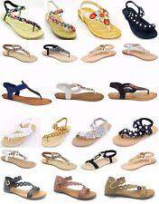 Women's New Gladiator Rhinestone Flower T-Strap Flat Sandal Thong Shoes Sz 5-10