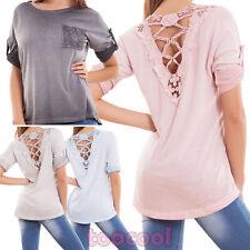 Maglia donna maglietta pizzo schiena maniche 3/4 bottone ampia nuova AS-10211