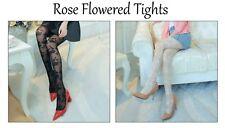 Rose Collants Collants Noir Ou Blanc/Crème Fleurs Floral Hosiery