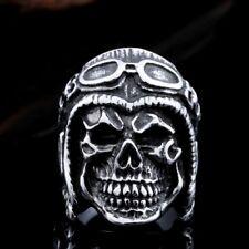 Stainless Steel Men's Detailed Aviator Skull Biker Ring Size 9-13