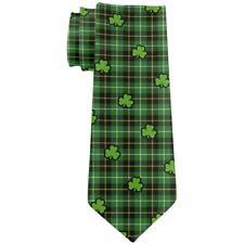 St. Patricks Day Clover Plaid Shamrocks Pattern All Over Neck Tie