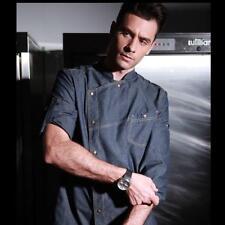 Mens Hotel Chef Jacket Cook Wear Restaurant Kitchen 3/4 Sleeve Denim Jean Coats