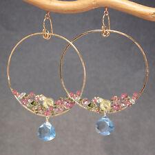 Mnemba 096 ~Blue Quartz, Tourmaline, Peridot in Hoop Earrings with Metal Choice