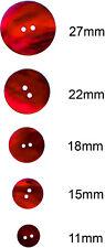 6 X Rosso Akoya bottoni in madreperla: 11, 15, 18, 22, 27mm