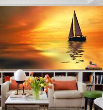 3D Twilight boat sea Sky Wall Paper Wall Print Decal Wall AJ WALLPAPER CA