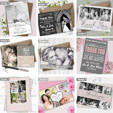 Flat or Folded Photo Personalised Photo Wedding Thank You Cards Free Proof
