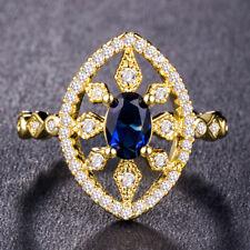 Luxury Women Blue Sapphire 18k Yellow Gold Filled Wedding Ring Size 6-10