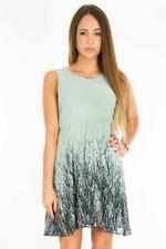 ♥ViNTAGE Empire Wood Print Dress Kleid Wald Busch Blogger mint S/M M/L 34 36 38