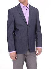 Zenbriele Slim Fit Blue Textured Two Button Unlined Cotton Blazer Sportcoat