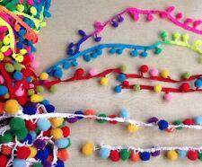 Trenza de Rainbow Bola Pom Pom Adorno Decoración Artesanal Ribete de cinta de flecos