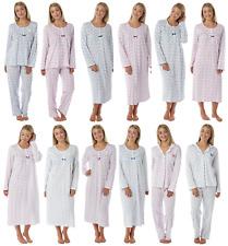MUJER 100% Jersey De Algodón Camisón Pijama Blanco Corto Manga Larga Abotonado