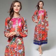 2018 spring women's fashion temperament long sleeve tunic printing bowknot dress