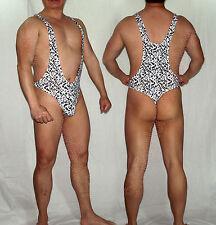 G3394 Mens Thong Bodysuit Stretch Swimsuit Tricot Onesie Leopard/zebra...