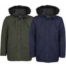 New Men Tokyo Laundry Winter Quilt Lined Fur Trim Hooded Parka Jacket Size S-XXL