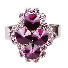Ring aus Edelstahl, Zirkonia Strass, lila, rosa, inkl.Schmuckbeutel, NEU, 5694
