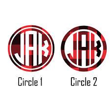 BUFFALO PLAID Circle Monogram Vinyl Decal Sticker for YETI TUMBLER PHONE COOLER