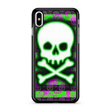Energy Beam Filled Green White Skull Face Stripy Mini Skulls 2D Phone Case Cover