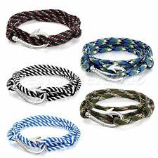 Men Women Camouflage Nautical Fish Hook Nylon Rope Wrap Wristband Cuff Bracelet