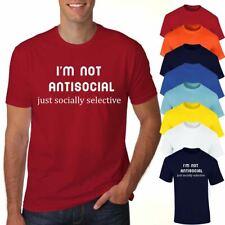 Je ne suis pas antisociale Printed T Shirt pour Homme garçons à manches courtes en coton Casual Wear Lot
