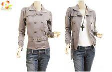 Celebrity Women Gray Double Breast Fleece Belted Jacket Trench Blazer Coat Top