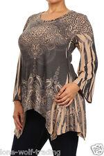 Plus Size Long Sleeve Mocha Sublimation Paisley Print Tunic Top-PT2-83378MO