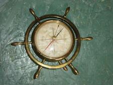 Vintage Ship's Wheel BAROMETER Nautical Brass Marine