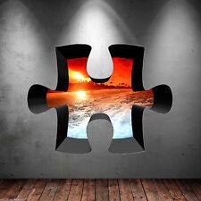 3d Puzzle a todo color Caribeño Puesta De Sol Pegatina Pared Arte Gráfico wsd307