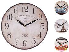 Horloge Murale Ø 29cm Déco de cuisine en bois Montre Quartz RÉTRO ANTIQUE SHABBY