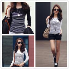 Fashion Korean Girls /Women's Clothing Long Sleeve Casual Striped T-Shirt Tops