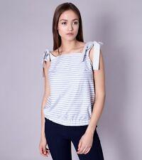 Top Bluse Shirt mit Stretch-Anteil Ärmellos Streifen-Muster Blau Weiß Gr 36 40
