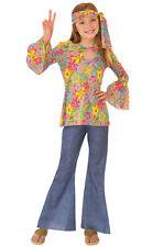 Flower Child 1960/'s Hippie Costume Girls Peace Sign Pants Shirt Vest 60/'s SM-LG