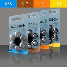 Batterie per Apparecchio Acustico EcoPack Tipo: 10, 13, 312, 675.