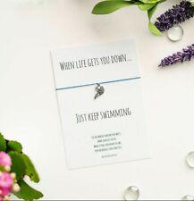 "Fish Wish Bracelet, ""Just Keep Swimming"" Card with Tibetan Silver Fish Charm"