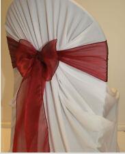 Maroon Organza Chair Cover Sash Bow Ribbon Band Tie Wedding Decoration..FREE S&H