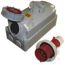 16A Interlock Socket and Plug IP67 Waterproof 16 Amp 3 / 4 / 5 Pin 230V 400V New