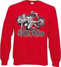 Sweatshirt in rot mit einem Biker-,Chopper-&Old Schoolmotiv Modell Body Shop