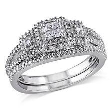 Amour Sterling Silver 1/4 Ct TDW Diamond Bridal Cluster Ring Set H-I I2-I3