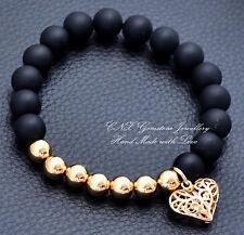 Hand Crafted Gem Crystal Beads Bracelet 18k Gold GP Black Matte Onyx Love Heart