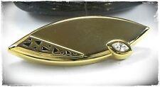 Neu BROSCHE farbe gold STRASSSTEIN klar/kristallklar VERZIERUNGEN schwarz