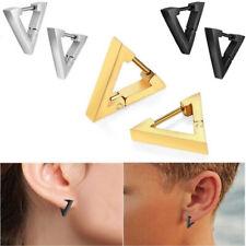 Stainless Steel Triangle Hoop Huggie Ear Studs Unisex Punk Rock Earrings Jewelry