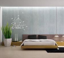 Jaula De Pájaro Vid Dormitorio pegatinas de pared de vinilo de decoración del Reino Unido sh167