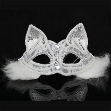Women Venetian Lace Plush Fox Cat Eye Mask Party Dance Halloween Masquerade Gift