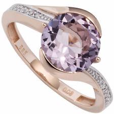 Anillo Mujer (585) 14k Oro Rojo Amatista 16 Diamantes de brillantes