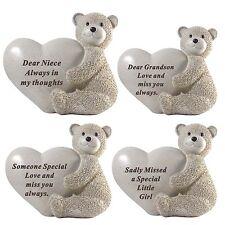 Memorial Teddy Holds Heart Stone Grave Plaque Sentimental Home Garden Keepsakes